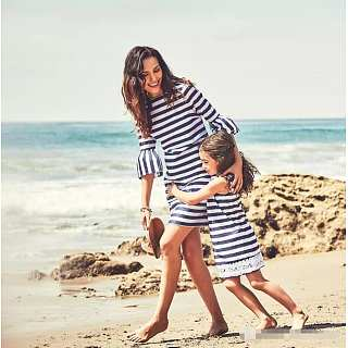 Mom Girl Stripes Round Neck Matching Dress