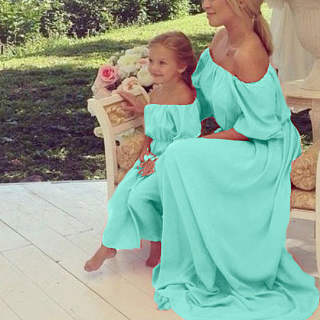 Mom Girl Chiffon Solid Color Off-Shoulder Matching Dress