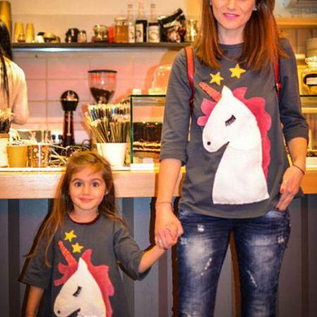 Mom Girl Cartoon Animals Pattern Matching T-Shirt
