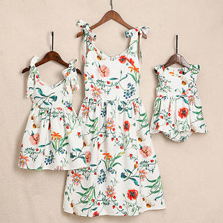 Mom Girl Botanical Prints Pleated Cami Matching Dress