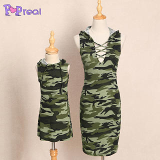Mom Girl Camouflage Prints Hooded Matching Dress