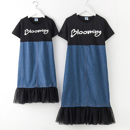 Mom Girl Denim Tulle Patchwork Pullover Matching Dress