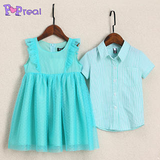 Brother Sister Ruffle Trim Turn-Down Collar Matching Outfits