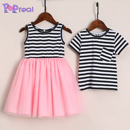 bc34e14271e1 Brother Sister Stripes Color Block Matching Outfits Only $9.18 - popreal.com