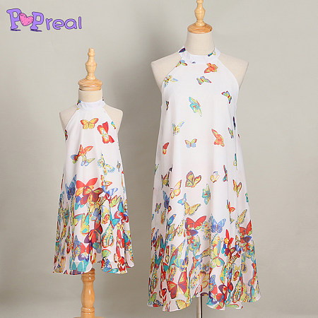 Mom Girl Butterfly Prints Halter Matching Dress