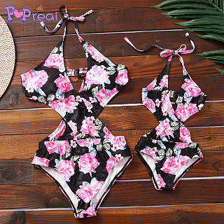 Mom Girl Flower Prints Halter One Piece Matching Swimsuit