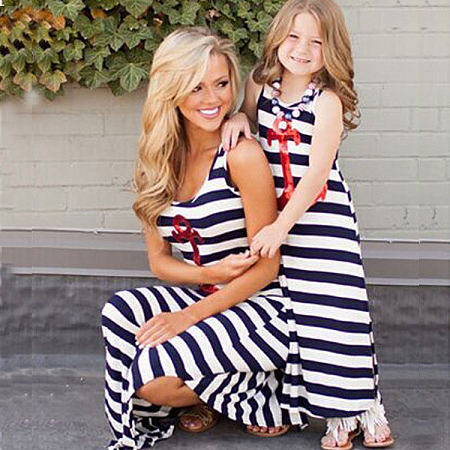 Mom Girl Stripes Sequin Decorated Anchor Pattern Matching Dress