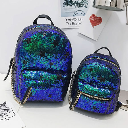 Mom Girl Sequin Decorated Zipper Matching Backpack