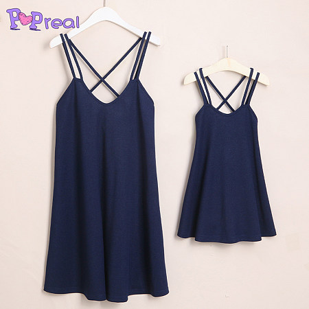 Mom Girl Solid Color Matching Cami Dress