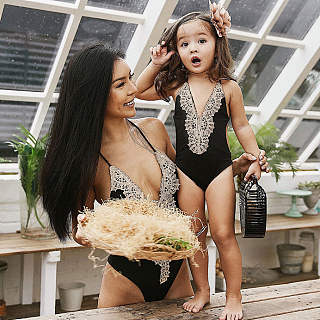 Mom Girl Lace Patchwork Backless One Piece Matching Swimwear