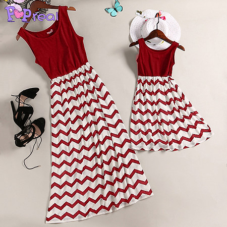 Mom Girl Stripes Matching Skater Dress