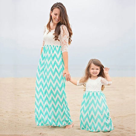 Mom Girl Stripes Lace Patchwork Matching Dress