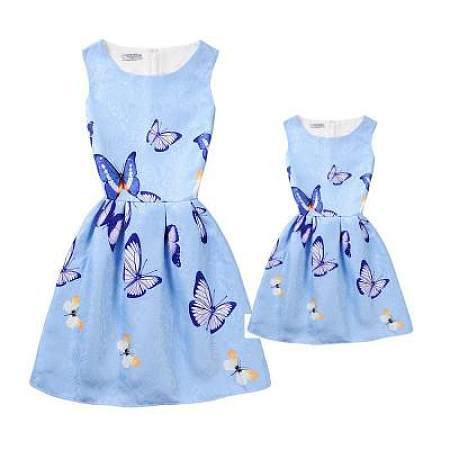 Mom Girl Butterfly Prints Matching Dress