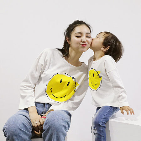 Mom Girl Cartoon Smile Face Pattern Matching T-Shirt