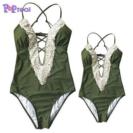 20d9a52e9e151 Mom Girl Lace Patchwork Matching One Piece Swimwear - popreal.com