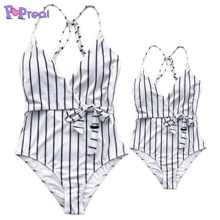 Mom Girl Contrast Stripes One Piece Matching Swimwear