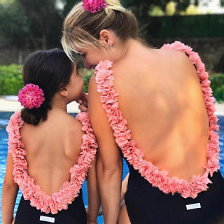 Mom Girl Flower Decorated Backless One Piece  Matching Swimwear