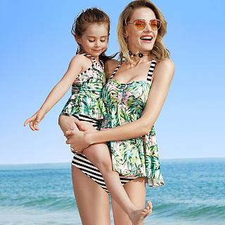 Mom Girl Stripes Leaves Prints One Piece Matching Swimwear