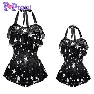 2948658d8cf2c Mom Girl Star Prints Ruffle Trim One Piece Matching Swimwear