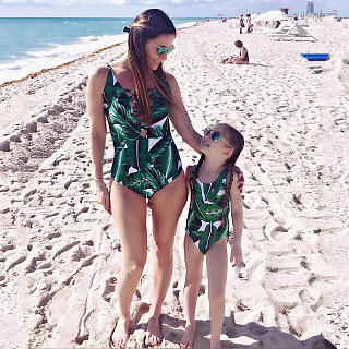 Mom Girl Leaves Prints Matching One Piece Swimwear
