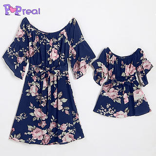 Mom Girl Flower Prints Off Shoulder Self Tie Matching Dress