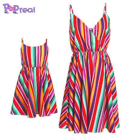 Mom Girl Colorful Contrast Stripes Matching Dress