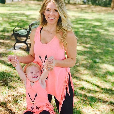 Mom Girl Arrow Pattern Tassel Matching T-Shirt
