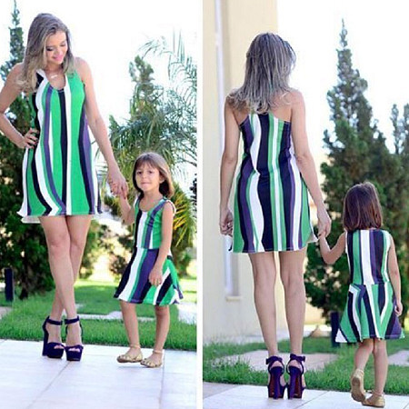Mom Girl Contrast Stripes Color Block Matching Dress