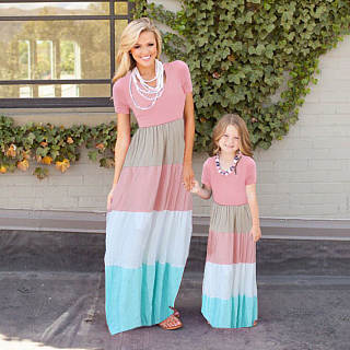 Mom Girl Color Block Floor Length Matching Dress