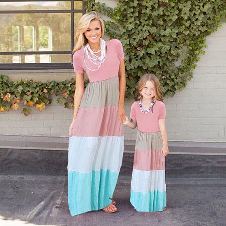 Mom Girl Color Block Floor Length Matching Dress