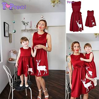 Mom Girl Reindeer Pattern Matching Dress
