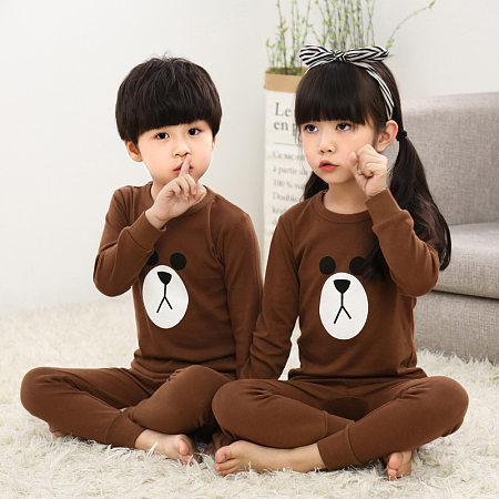 Buy Brother Sister Cartoon Bear Pattern Matching Pajamas, brown, ML18080305 for $18.99 in Popreal store