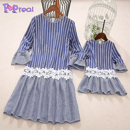 Mom Gilr Stripes Lace Flower Patchwork Matching Dress