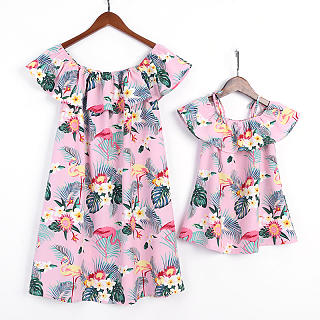 Sexy Round Neck Floral Printed Belted Dress