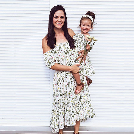 Mom Girl Sexy Off Shoulder Floral Printed Matching Dress, 7474373