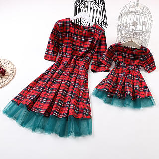 Mom Girl Sweet Plaid Mesh Halflong Sleeve Matching Dress