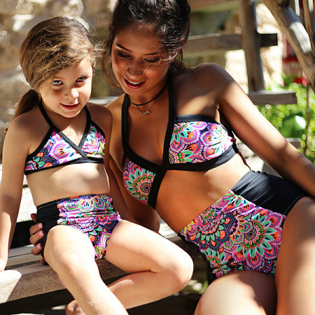 Mom Girl 2-Piece  Colorful Floral Striped Swimsuit
