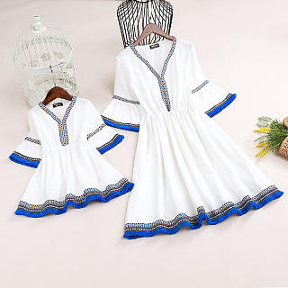 Mom Girl Trumpet  Sleeve Fringe Trim Dress