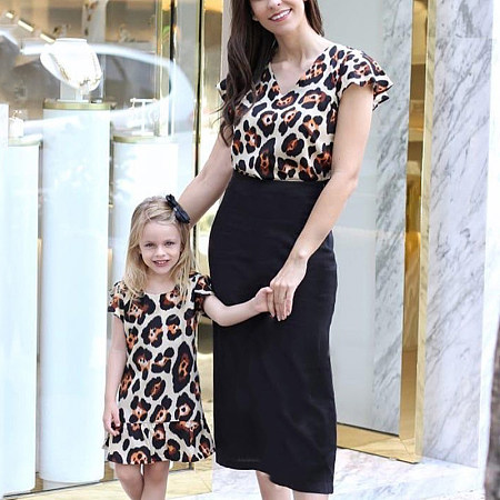 Mom Girl Leopard Print Fly Sleeve Patchwork Dress