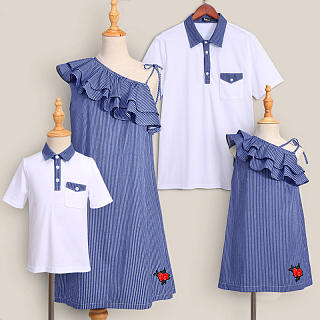 Oblique Collar Falbala Stripes Family Outfits