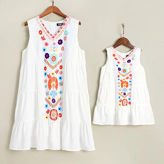 Mom Girl Floral Print Sleeveless Matching Dress