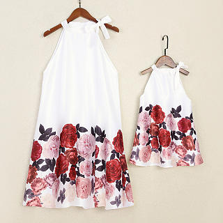 Mom Girl Flower  Prints Halter Shift Dress