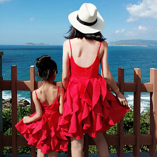 Mom Girl Solid Color Backless Matching Dress