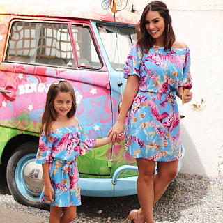 Mom Girl Classy Off The Shoulder Printed Colour Dress