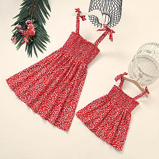 Mom Girl Sexy Floral Printed Sling Belted Matching Dress