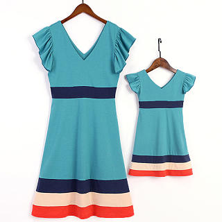 Mom Girl Casual V Neck Color Striped Matching Dress