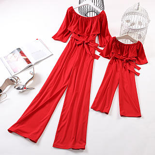 Mom Girl Casual Pure Color Belted Halflong Sleeve Matching Jumpsuit
