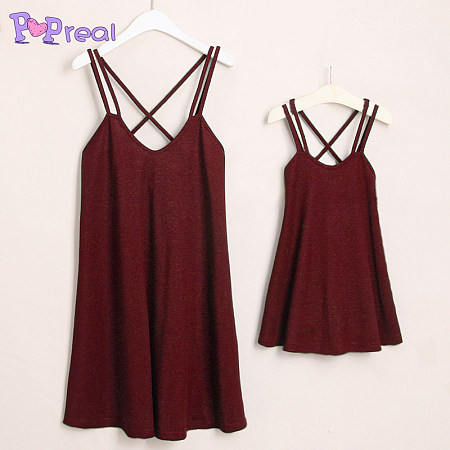 Mom Girl Solid Color Leisure Cami Dress