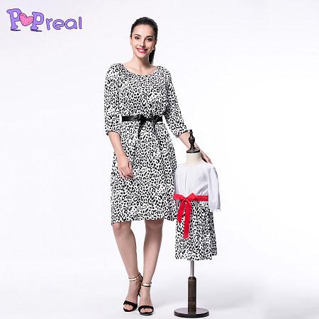 Mom Girl Leopard Grain Bowknot Summer Dress, leopard_print, MX17010504