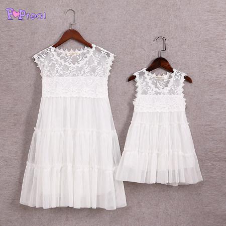 Mom Girls White Tulle Summer Sleeveless Dress